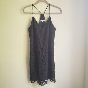 Lavender Brown Black Lace Racerback Shift Dress